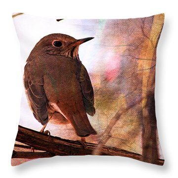 Throw Pillow featuring the digital art Sparrow by Jean Moore