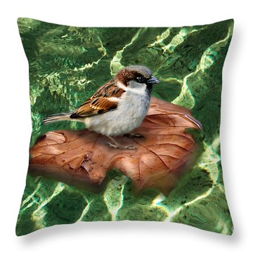 Sparrow On A Quest Throw Pillow