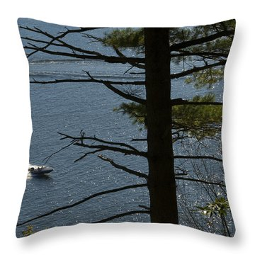 Speedboat On The River Throw Pillow