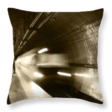 Throw Pillow featuring the photograph Speeding Train by Marta Cavazos-Hernandez