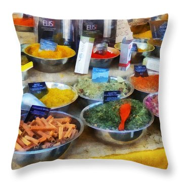 Spice Stand Throw Pillow by Susan Savad