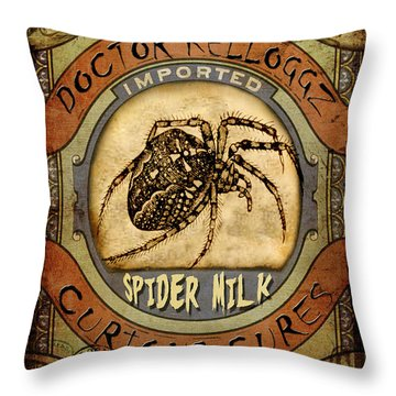 Throw Pillow featuring the digital art Spider Milk by Nada Meeks