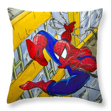 Spidey  Throw Pillow by Chris  Leon