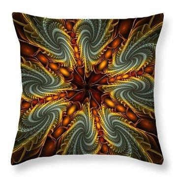 Throw Pillow featuring the digital art Spinnin' Bloom by Kim Redd