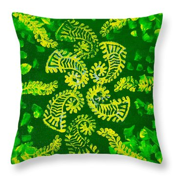 Spinning Greens Throw Pillow by Farah Faizal