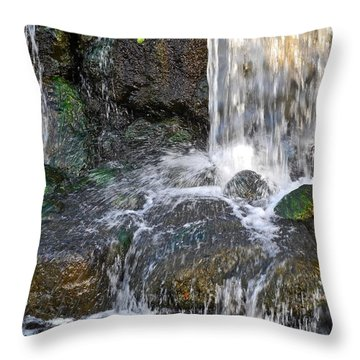 Splashing Water Falls Throw Pillow by Kirsten Giving