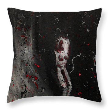 Throw Pillow featuring the painting Splattered Nude Young Female In Gritty City Alley In Black And White And Red by M Zimmerman