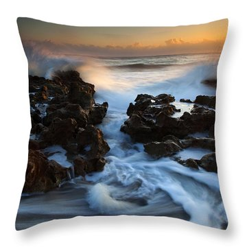 Splitting The Reef Throw Pillow by Mike  Dawson