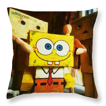 Spongebob Always Loves The Group Hugs Throw Pillow by Steve Taylor