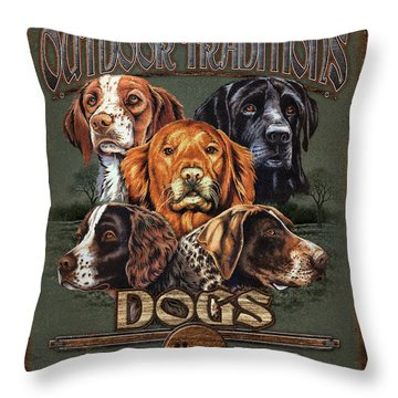 Sporting Dog Traditions Throw Pillow by JQ Licensing