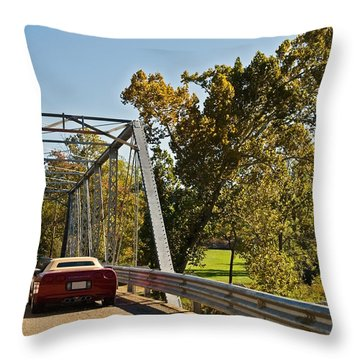 Throw Pillow featuring the photograph Sports Car On A Bridge by Susan Leggett
