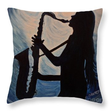 Spotlight On The Blues Throw Pillow by Julie Brugh Riffey