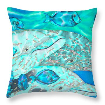 Spotted Dolphins And Blue Tang Throw Pillow by Daniel Jean-Baptiste