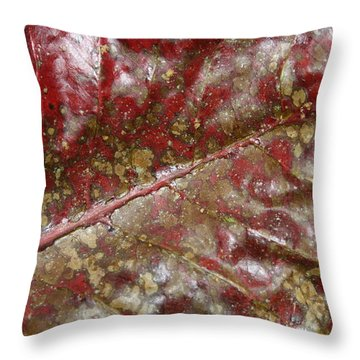 Spotted Red Leaf Throw Pillow