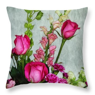 Spray Of Flowers Throw Pillow by Judi Bagwell