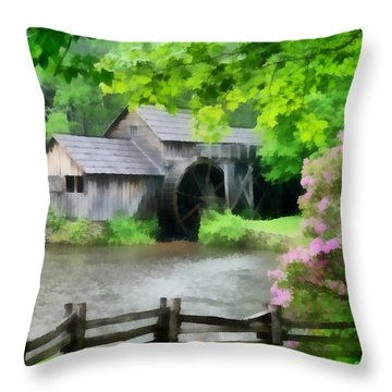 Spring At Mabry Mill Throw Pillow by Lynne Jenkins