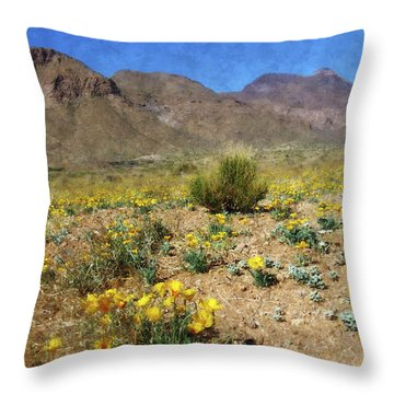 Spring Bloom Franklin Mountains Throw Pillow by Kurt Van Wagner
