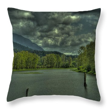 Spring Clouds At The Nicomen Slough Throw Pillow by Rod Wiens