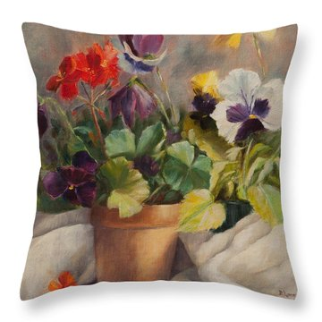 Spring Dance Throw Pillow by Debbie Lamey-MacDonald
