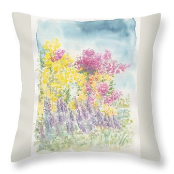 Throw Pillow featuring the painting Spring Garden by Jane  See