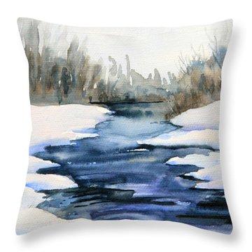 Spring Melt Throw Pillow by Kristine Plum