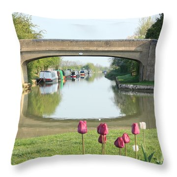 Spring On The Oxford Canal Throw Pillow