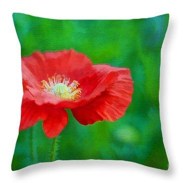 Spring Poppy Throw Pillow by Darren Fisher