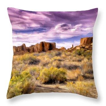 Spring Rain At Chaco Canyon Throw Pillow