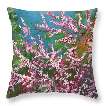 Throw Pillow featuring the painting Springs Blossoms  by Dan Whittemore
