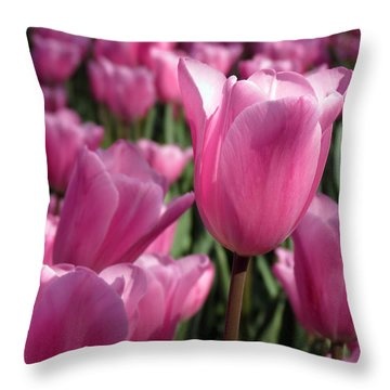 Throw Pillow featuring the pyrography Springtime Impression Tulips by Darleen Stry