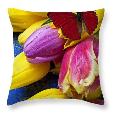 Springtime Tulips And Red Butterfly Throw Pillow by Garry Gay