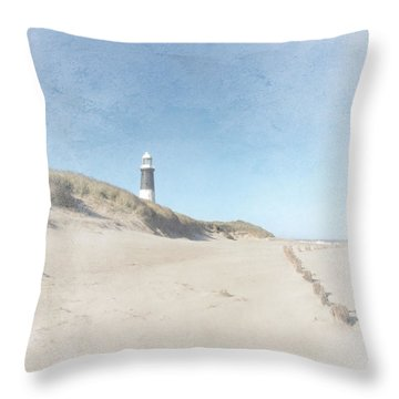 Spurn Point Lighthouse Texture Throw Pillow