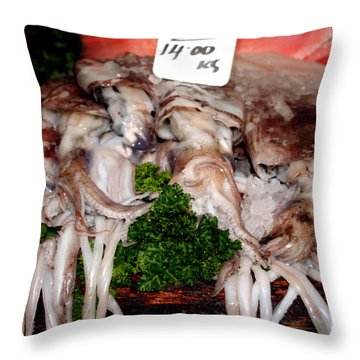Squid For Sale Throw Pillow by Heather Applegate