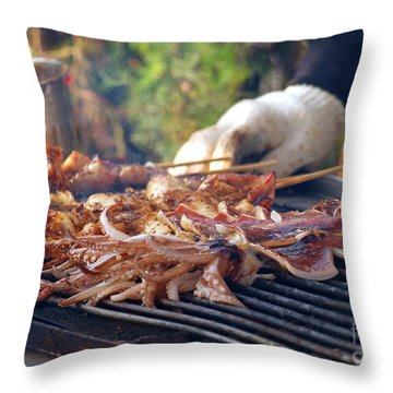 Squid Skewers Barbecue Throw Pillow by Yali Shi
