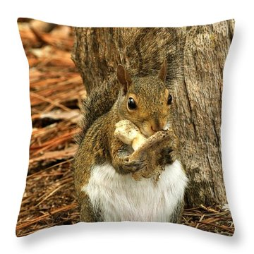 Squirrel On Shrooms Throw Pillow