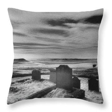 St Aidans Churchyard Throw Pillow by Simon Marsden