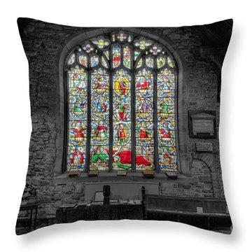 St Dyfnog Window Throw Pillow by Adrian Evans