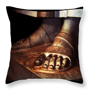 Throw Pillow featuring the photograph St. Francis Of Assisi's Sacred Feet by Susanne Still