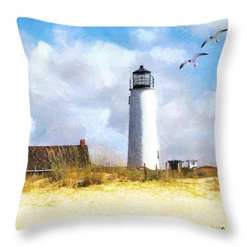 Throw Pillow featuring the photograph St. George Island Lighthouse by Rhonda Strickland