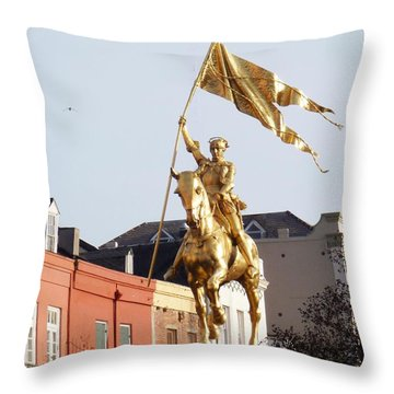 Throw Pillow featuring the photograph St. Joan At Dawn by Alys Caviness-Gober