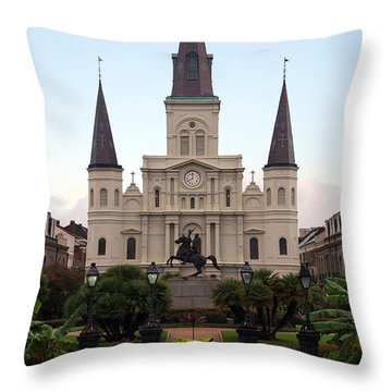 St Louis Cathedral On Jackson Square In The French Quarter New Orleans Throw Pillow by Shawn O'Brien