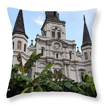 St Louis Cathedral Rising Above Palms Jackson Square New Orleans Fresco Digital Art Throw Pillow by Shawn O'Brien