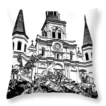 St Louis Cathedral Rising Above Palms Jackson Square New Orleans Stamp Digital Art Throw Pillow by Shawn O'Brien