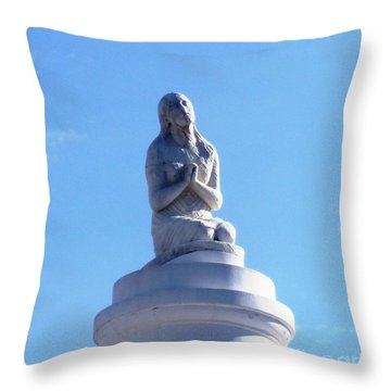Throw Pillow featuring the photograph St. Louis Cemetery Statue 1 by Alys Caviness-Gober