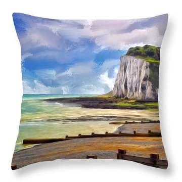 St. Margaret's Bay At Dover Throw Pillow by Dominic Piperata