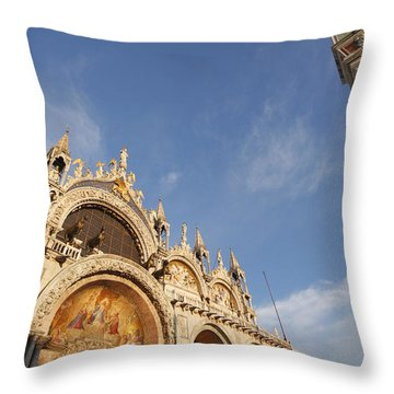 St. Markss Basilica And Campanile Off Throw Pillow by Trish Punch