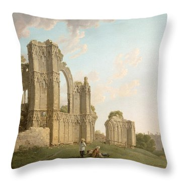 St Mary's Abbey -york Throw Pillow by Michael Rooker