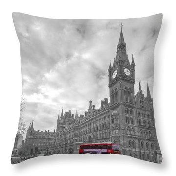 St Pancras Station Bw Throw Pillow