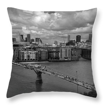 St Paul's And The City Panorama Bw Throw Pillow