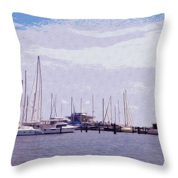 St. Petersburg Marina Throw Pillow by Bill Cannon